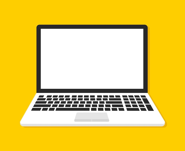 Computer portatile con schermo vuoto su colore giallo