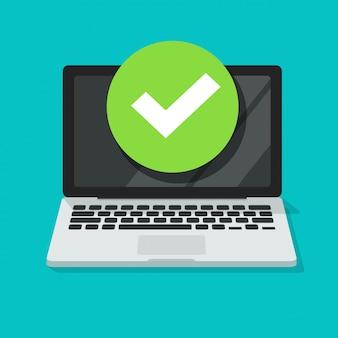 Laptop con segno di spunta o notifica di segno di spunta, cartone animato di un computer con scelta approvata, idea dell'attività svolta, aggiornamento o download completato, accetta o approva il segno di spunta tagliato