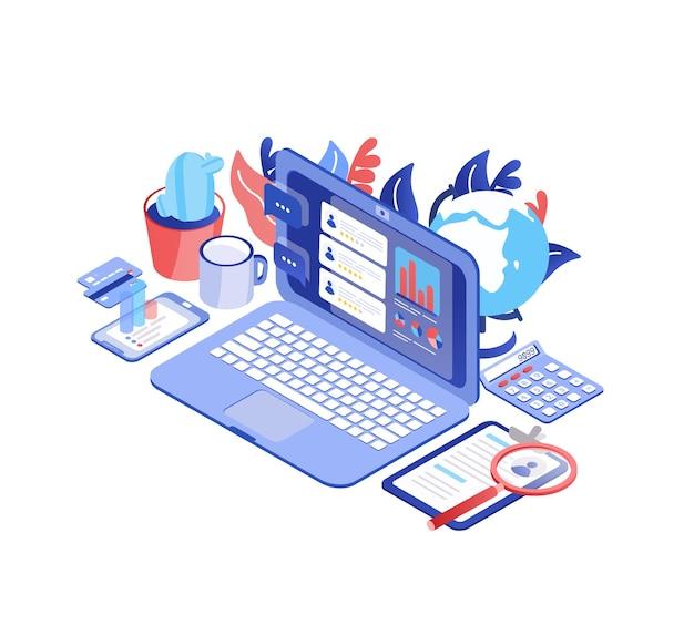 Computer portatile con le recensioni dei consumatori su schermo, smartphone, tazza, globo