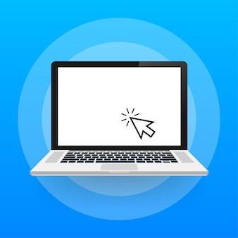 Computer portatile con cursore. computer o fare clic sulla freccia di ricerca per il sito web. illustrazione di riserva di vettore.