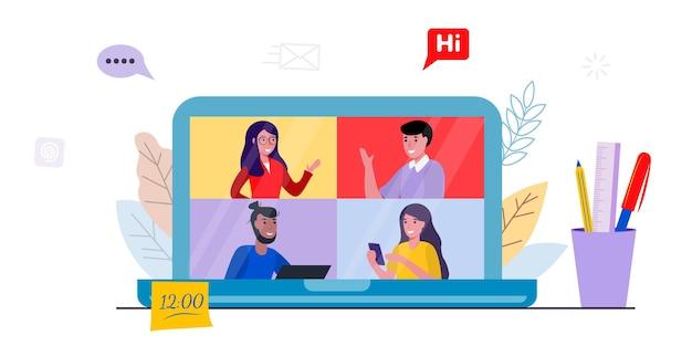 Computer portatile con un gruppo di persone in videoconferenza posto di lavoro schermo del computer portatile persone che parlano tramite internet