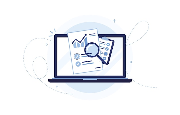 Computer portatile con documento di pianificazione delle vendite e appunti per il marketing aziendale