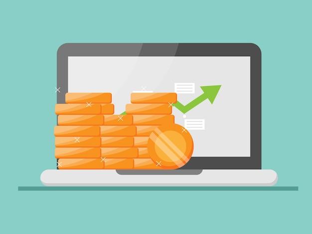 Computer portatile con pila di monete di denaro e grafico di crescita verde sullo schermo illustrazione