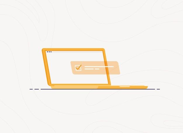 Computer portatile con elenco attività completato