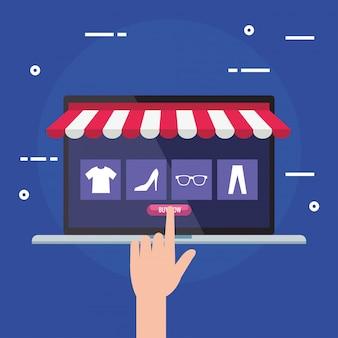 Il computer portatile con la tenda e la mano toccano il bottone dell'affare di vendita al dettaglio online del mercato di commercio elettronico e comprano l'illustrazione di tema