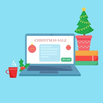 Computer portatile con pagina web di vendita online di chrismtas.