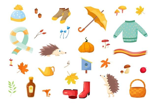 Un grande set autunnale di elementi dei cartoni animati collezione di attributi autunnali foglie autunnali
