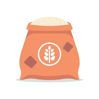 Un grande sacchetto di farina bianca. trasformazione del grano in farina. illustrazione piatta isolata