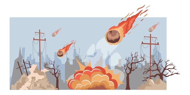 Grandi meteoriti in fiamme cadono sull'illustrazione piana di vettore della città