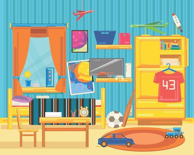 Ampia camera per bambini con mobili, finestre e giocattoli.