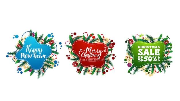 Ampia raccolta di auguri di natale e sconti elementi web in stile liquido con forme fluide astratte decorate con rami di albero di natale, caramelle e ghirlande isolate