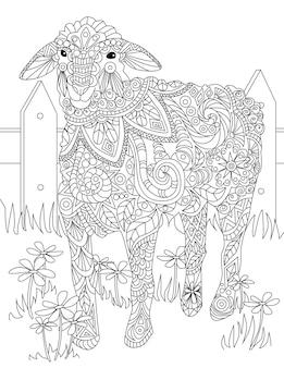 Grande disegno di una pecora in piedi da sola all'interno del recinto in attesa di shephered. grande disegno di agnello in attesa da solo circondato da ringhiere in legno.
