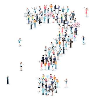 Grande gruppo di persone crowdig a forma di punto interrogativo