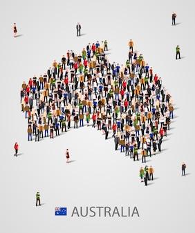 Grande gruppo di persone in forma di mappa dell'australia.
