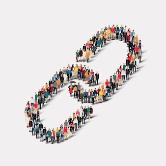 Un folto gruppo di persone sotto forma di collegamento a catena.