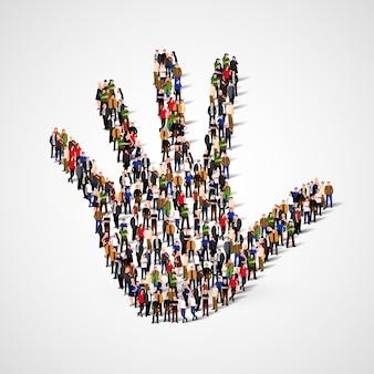 Grande gruppo di persone a forma di icona della mano.
