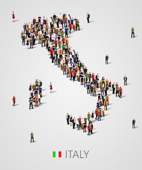 Grande gruppo di persone in forma di mappa dell'italia con elementi di infographics. mappa dell'italia.