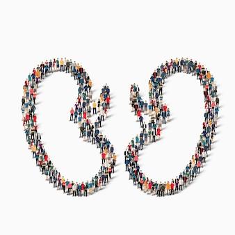 Un folto gruppo di persone sotto forma di medicina umana renale. illustrazione