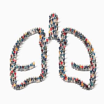 Un folto gruppo di persone sotto forma di polmoni medicina umana. illustrazione