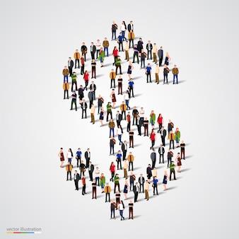Grande gruppo di persone che formano il simbolo del dollaro