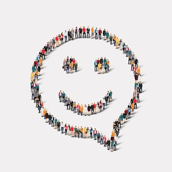Grande gruppo di persone a forma di bolle di chat, sorriso.