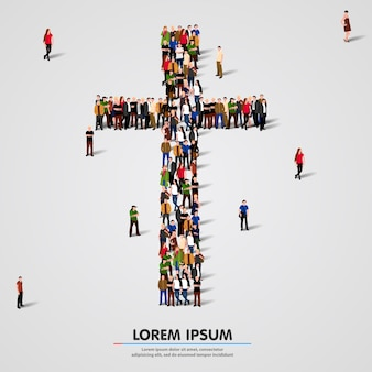 Grande gruppo di persone a forma di croce