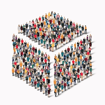 Un folto gruppo di persone a forma di cubo.
