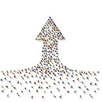 Grande gruppo di persone a forma di freccia incassante, concetto di strada per il successo aziendale