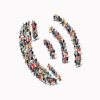 Un folto gruppo di persone sotto forma di una connessione portatile.
