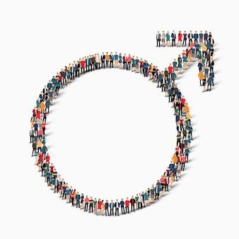Un folto gruppo di persone a forma di segno maschile. illustrazione.