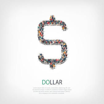 Un folto gruppo di persone a forma di segno di dollaro. illustrazione.
