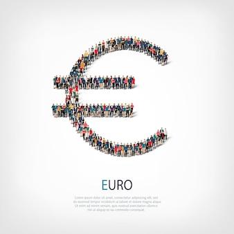 Un folto gruppo di persone a forma di segno euro. illustrazione.