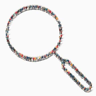 Un folto gruppo di persone a forma di icona della lente di ingrandimento del segno.