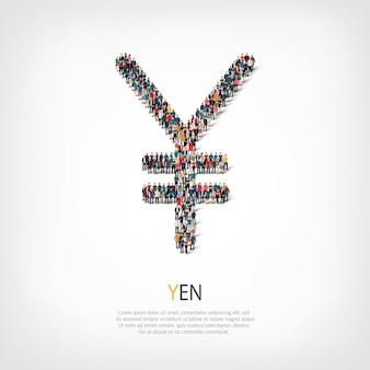 Un folto gruppo di persone a forma di segno dello yen. illustrazione.