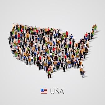 Grande gruppo di persone in stati uniti d'america o stati uniti mappa con elementi di infografica.