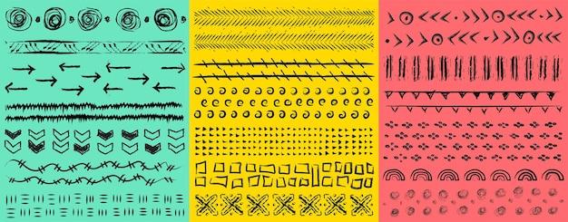 Grande kit disegnato a mano modelli artistici universali con punti astratti trattini punti cerchi croci