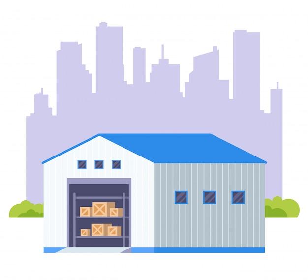Grande capannone per lo stoccaggio di merci. illustrazione piatta.