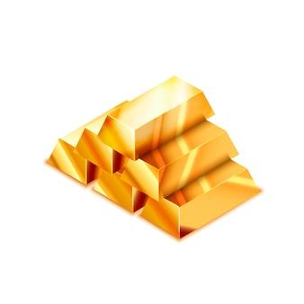 Grande mucchio delle barre dorate lucide realistiche nella vista isometrica su bianco