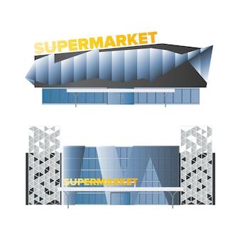 Grande supermercato moderno isolato su uno sfondo bianco. vettore alla moda del supermercato.