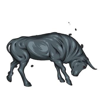 Grande toro muscoloso con corna e zoccoli