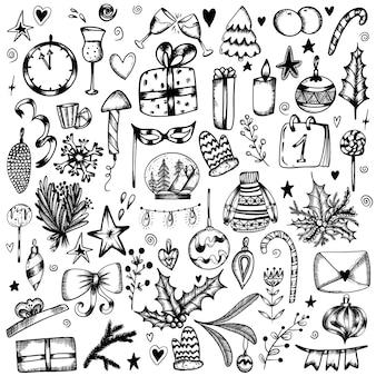 Grande set di scarabocchi di capodanno nello stile di regali di alcol in vetro per alberi di natale disegnati a mano