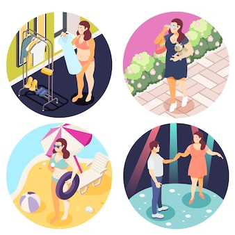 Grandi persone obese 4 illustrazione isometrica rotonda
