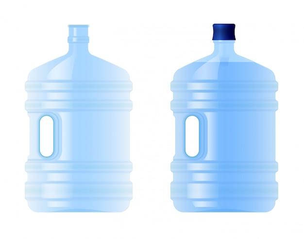 Grande bottiglia di plastica con acqua. volume cinque galloni. sorgente pulita o acqua purificata. vuoto e pieno.