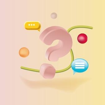 Un grande punto interrogativo in stile d con bolle
