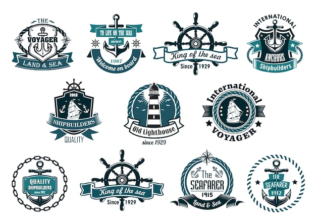 Grande set retrò di etichette marine blu scuro, logo ed emblemi con ancore, ruote, barche a vela, faro, striscioni a nastro, corde, catene e stelle