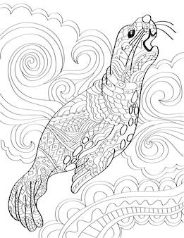 Grande leone marino che guarda in alto ringhiando con sfondo swirly disegno a tratteggio incolore enorme sigillo