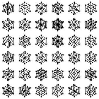 Un grande set di 36 elementi basati sull'artigianato giapponese kumiko. forme che sembrano fiocchi di neve