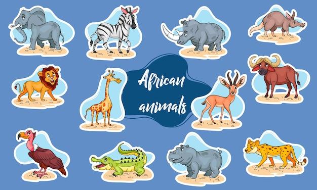 Grande set di animali africani. personaggi animali divertenti in stile cartone animato adesivi. illustrazione per bambini. raccolta di vettore.