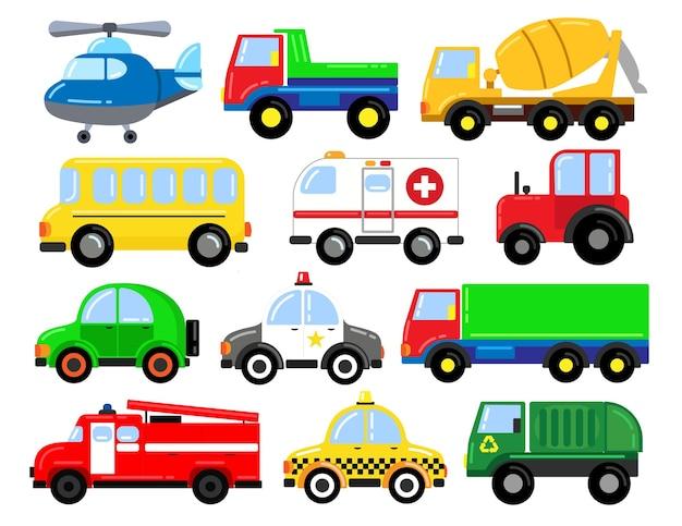 Un ampio set di auto. per l'apprendimento dei bambini in età prescolare. illustrazione del fumetto. attività con i bambini.