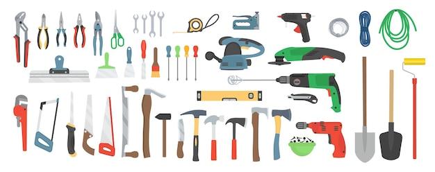 Ampio set di strumenti di costruzione. trapano, smerigliatrice, sega circolare, scalpello, ascia, martello, estrattore di chiodi, seghetto, metro a nastro, spatola, tronchese, pinza, chiave inglese, cucitrice, pistola per colla, rullo, potatore. set di icone.